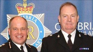 Cumbria Chief Constable Craig Mackey and Insp Joe Murray