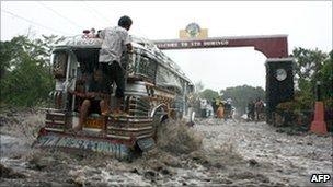 Flooded road, Santo Domingo, Albay, Philippines 30 Dec 2010