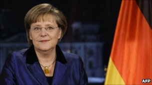 German Chancellor Angela Merkel records her annual New Year's message in Berlin, 30 December