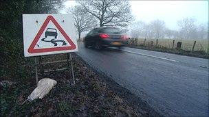 Road near scene of accident