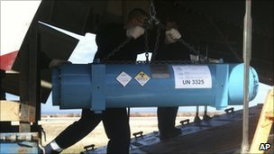 A container of highly enriched uranium is loaded on to a plane in Sevastopol, Ukraine (undated photo)