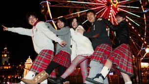 Chinese tourists partying in Edinburgh