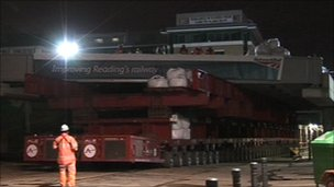 Bridge being put into place