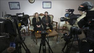 Iranian Sakineh Mohammadi Ashtiani, attends a news briefing as she meets with her son, Sajjad, in the northwestern city of Tabriz, Iran, 1 January, 2011