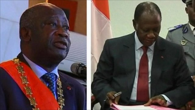 Laurent Gbagbo, the incumbent President in Ivory Coast (left) and his political rival Alassane Ouattara (right)