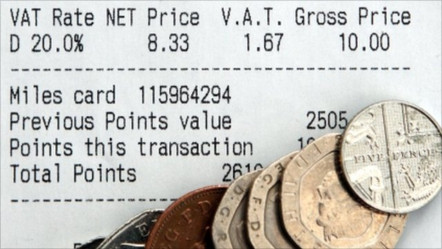 Receipt showing VAT at 20% and coins