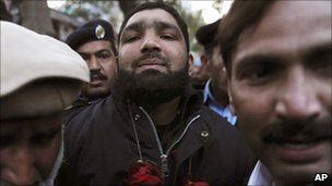 Suspect Malik Mumtaz Hussein Qadri at court in Islamabad, 5 Jan