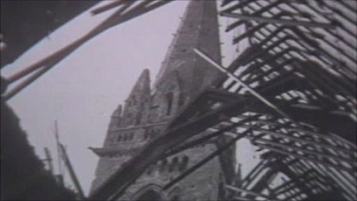 Bomb-damaged Llandaff Cathedral