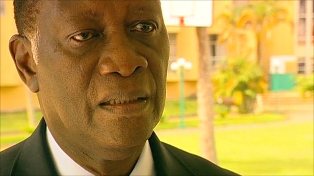 Alassane Ouattara spoke to the BBC from the hotel where is kept under guard