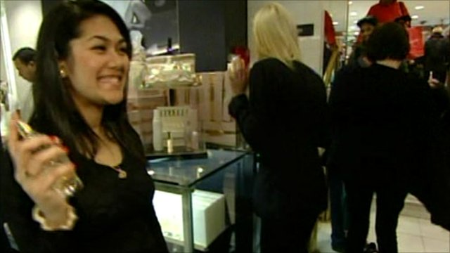 Shoppers in US perfume store