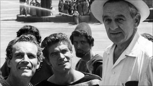 Stephen Boyd (centre) on the set of Ben Hur with Charlton Heston and film director William Wyler