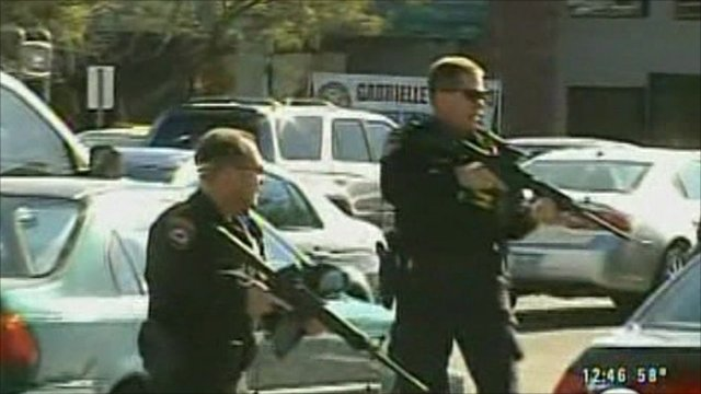 Police officers at the scene of shooting