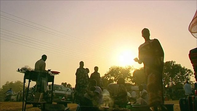 Sudanese people in an open market
