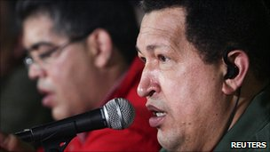 President Hugo Chavez speaking at a meeting to discuss building new homes in Caracas, 8 January 2011