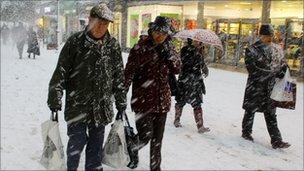 Shoppers in Tunbridge Wells, Kent, last month