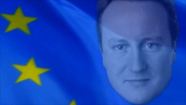 David Cameron's face on EU flag
