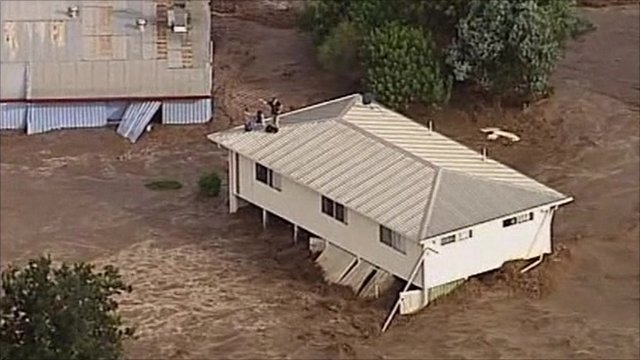 House washed away by flood waters