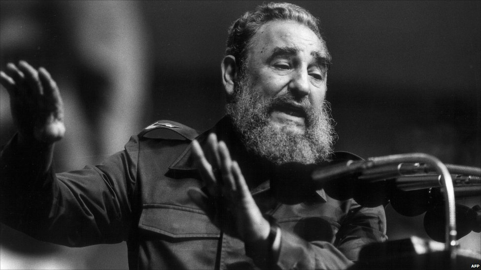 Cuban President Fidel Castro addresses the Confederation of Cuban Workers union (CTC) 28 January 1990 in Havana