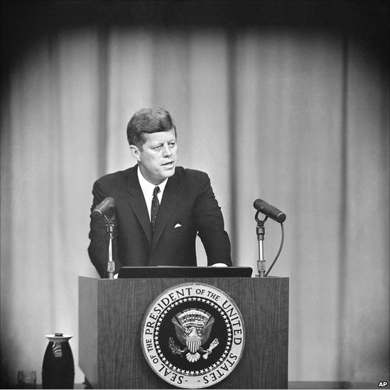 President John Kennedy in the dramatic showdown over missile bases in Cuba Nov. 1, 1962