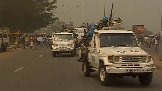 UN peacekeepers at the scene