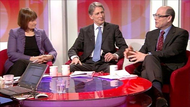 Tessa Jowell, Philip Hammond and Nick Robinson