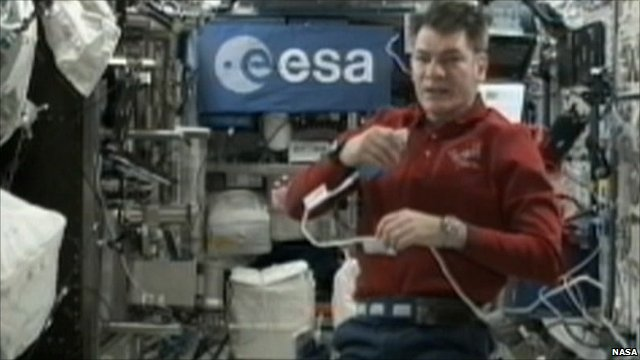 Astronaut Paolo Nespoli on board the ISS