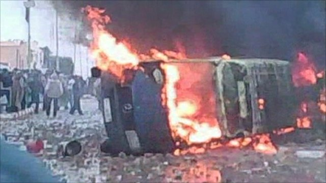 A bus on fire in Tunis