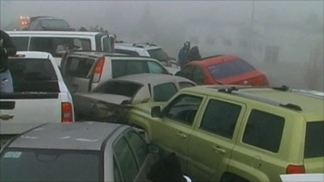 Some of the cars involved in the pile-up