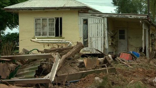 Flood damaged house