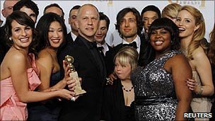 The cast and crew of Glee