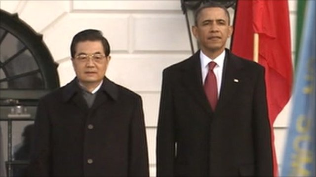 Hu Jintao and Barak Obama