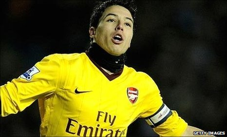 Samir Nasri celebrates opening the scoring for Arsenal