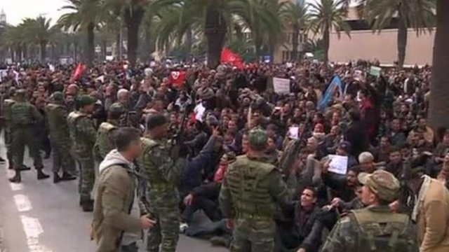Protesters in Tunis