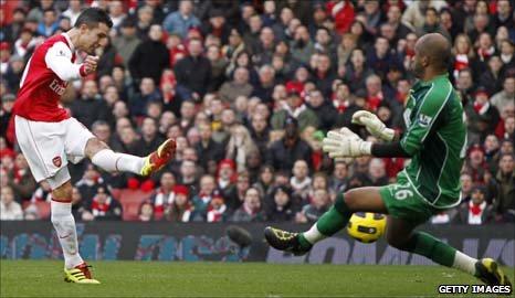 Robin van Persie (left) puts Arsenal ahead