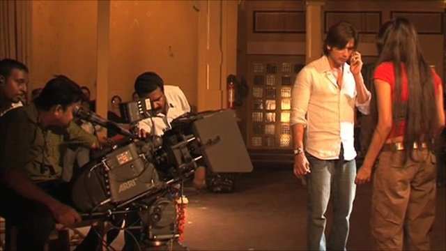 Bollywood scene being filmed