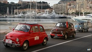 Fiat 500 parade at the harbour of Monaco, December 2010
