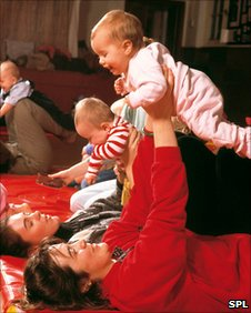 File photograph of women exercising with babies