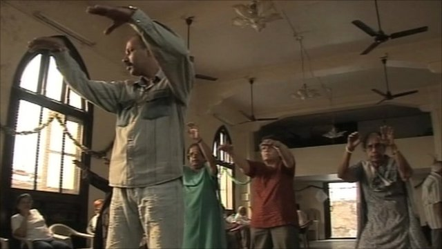 Elderly Indian's in exercise class