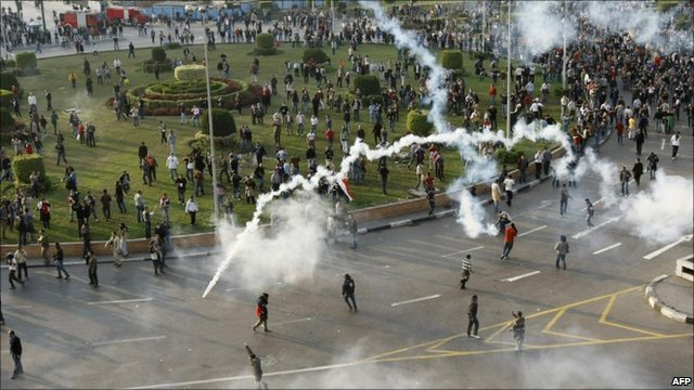 Tear gas fired at Cairo protests
