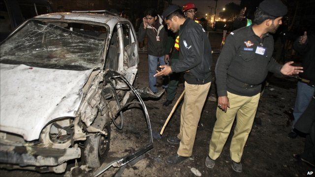Police at bomb site in Lahore