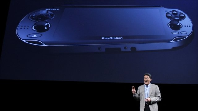 "Sony Computer Entertainment President and Group CEO Kaz Hirai unveils a new handheld gaming device codenamed ""NGP"" for Next Generation Portable during the company's strategy briefing event in Tokyo."