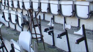 Seats in the South Stand at the Vetch