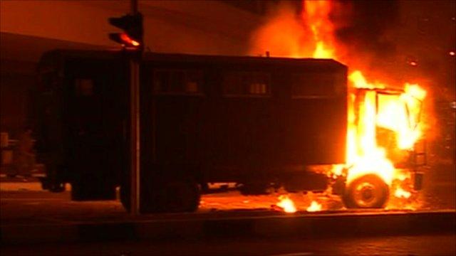 Truck on fire