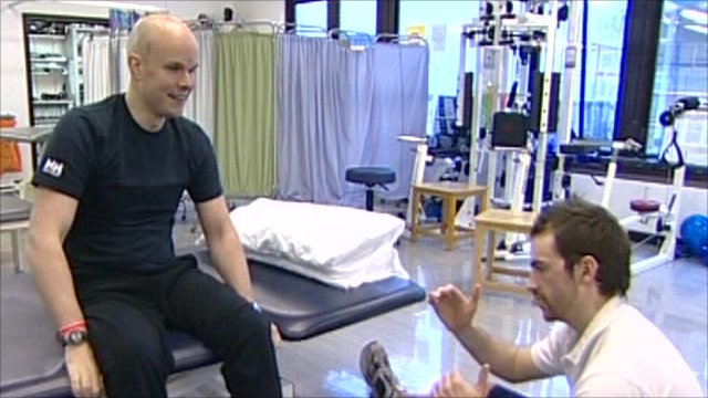 Mark Pollock and his physiotherapist