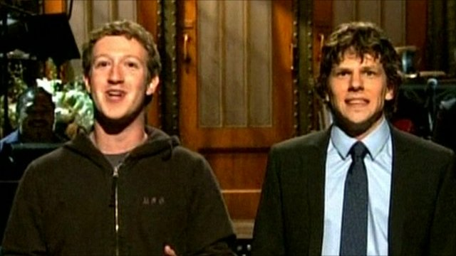 Mark Zuckerberg and Jesse Eisenberg