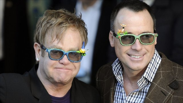 Elton John (L) and David Furnish (R)