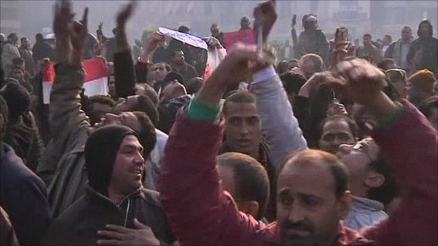 Protesters gather early in Cairo