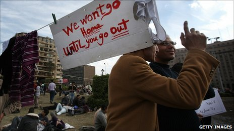 Protesters in Tahrir Square, Cairo, Egypt (31 Jan 2011)