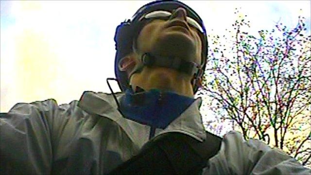 Cyclist Ben Porter wearing a helmet camera