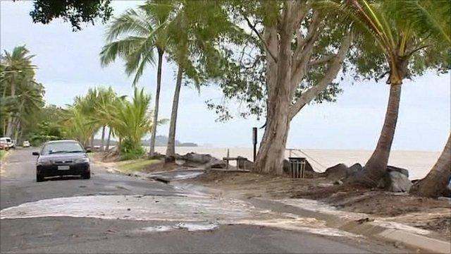 Water breaching road